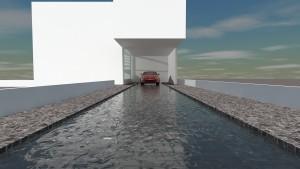 水盤ガレージハウス